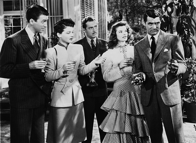 The Philadelphia Story's impressive cast (from L-R): James Stewart, Ruth Hussey, John Howard, Katharine Hepburn and Cary Grant.
