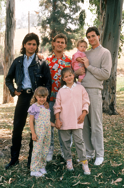 Back row: Uncle Jesse, Uncle Joe, Michelle, Danny Tanner Front Row: Stephanie Tanner, D.J. Tanner
