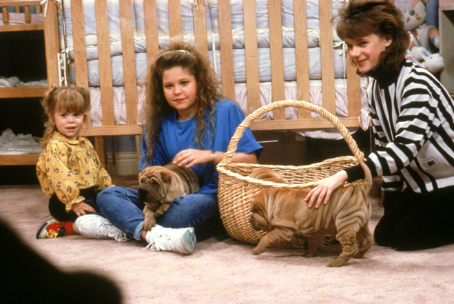 Michelle, D.J. and Kimmy playing with puppies
