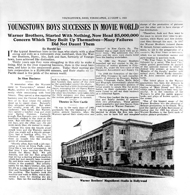 Newspaper write-up on Warner Bros. from 1924