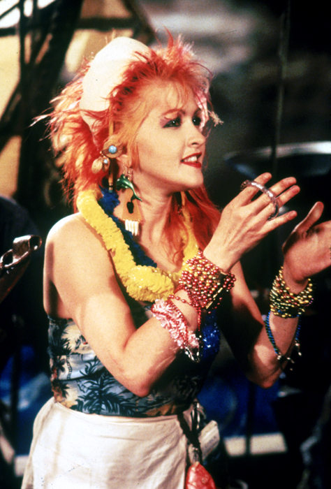 "Medium shot of Cyndi Lauper, from music video: ""The Goonies 'R' Good Enough.\"""