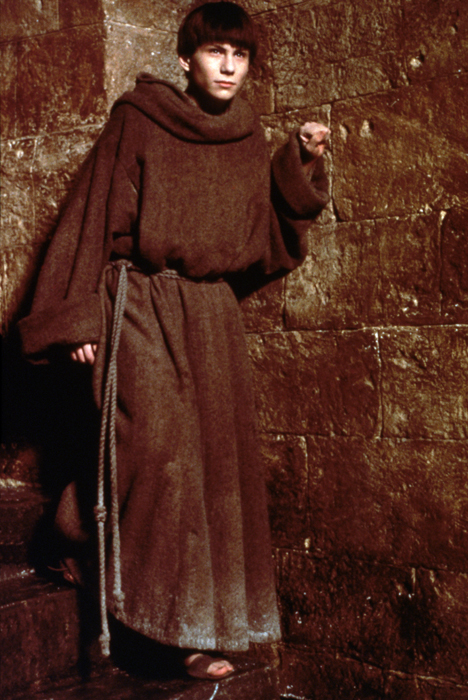 Full shot of Christian Slater as Adso von Melk.