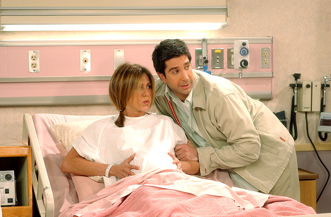 Ross and Rachel in the hospital before Rachel gives birth