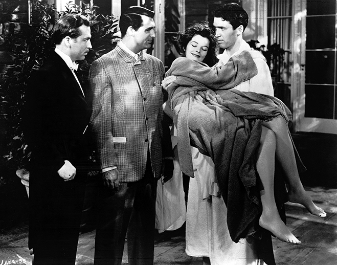 James Stewart, carrying Hepburn's character home after a late night party, is accosted by Grant and John Howard.