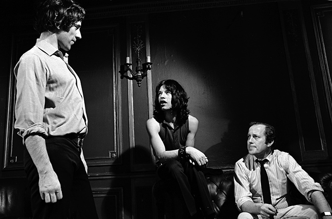 Mick Jagger with co-directors Donald Cammell and Nicolas Roegon the set of Performance