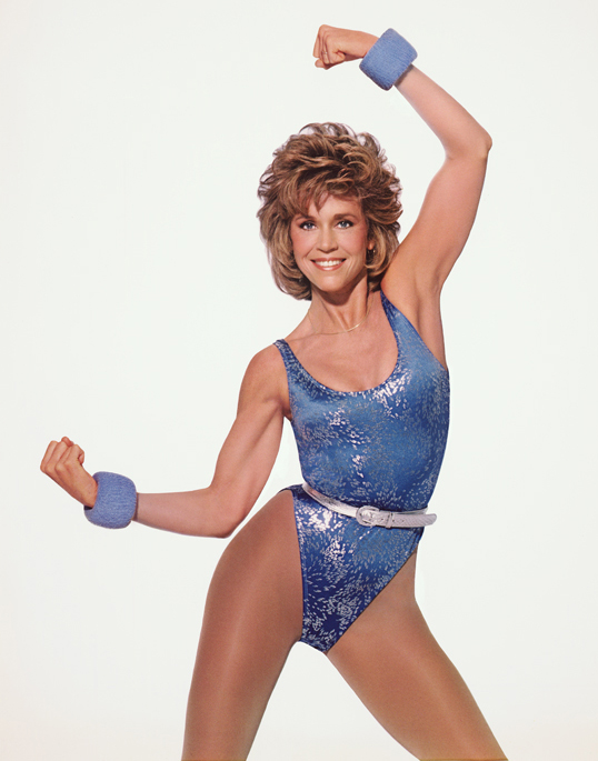 Jane Fonda in sequined 80s workout clothes