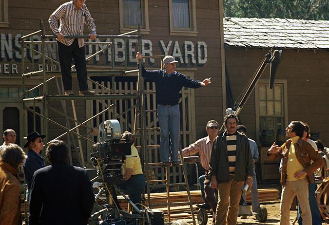 crew film on Western Street on the Warner Bros lot