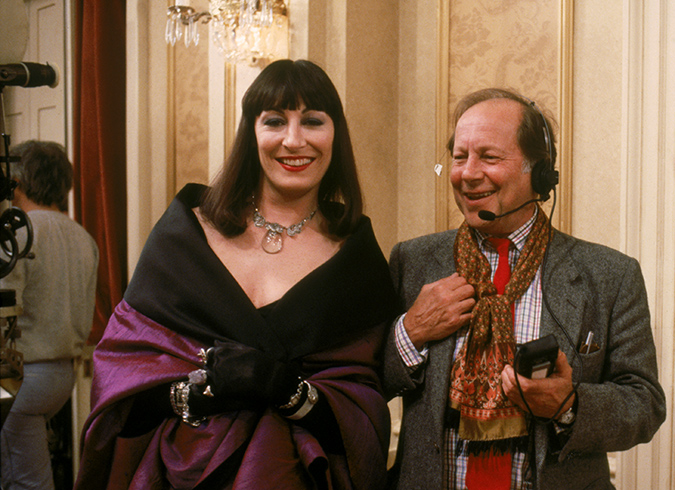 Anjelica Huston and Nicolas Roeg on the set of The Witches
