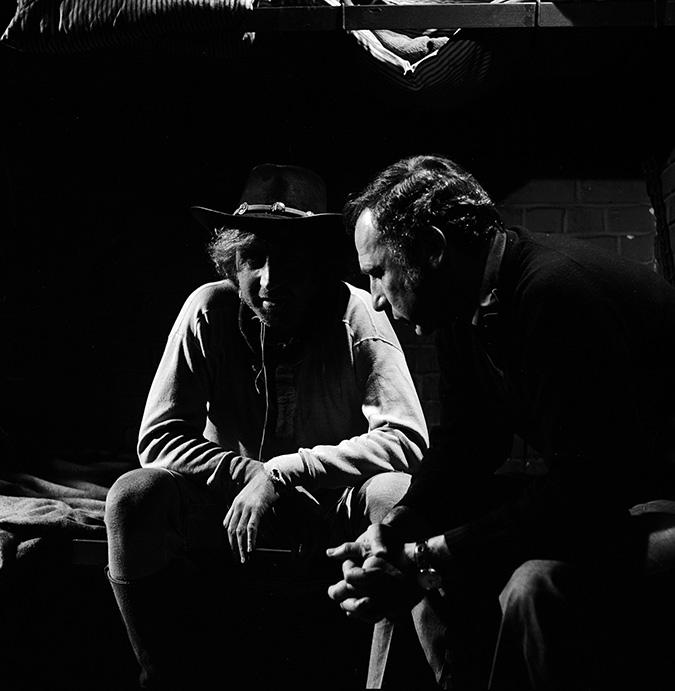 Gene Wilder and director Mel Brooks on set