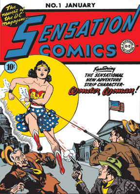 Sensation Comics #1, 1942 - Written by William Moulton Marston, Cover art by Jon L. Blummer, Harry G. Peter, Pencils and ink by Harry G. Peter