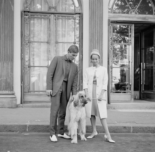 Nancy Kwan and husband Peter Pock pose with Afghan hound