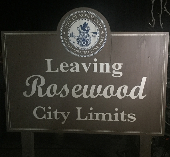 Leaving Rosewood City Limits sign