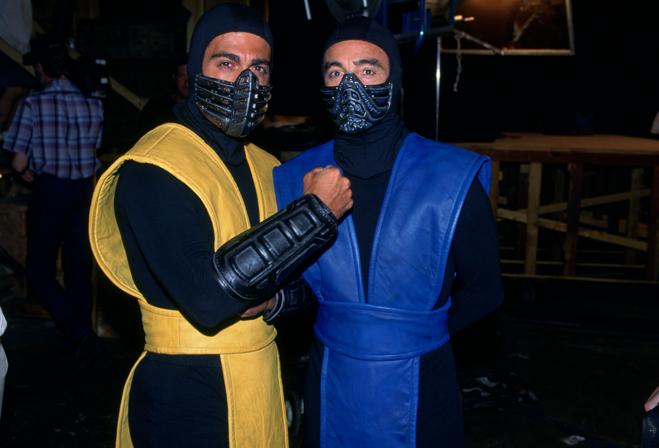Medium BTS shot of Chris Casamassa as Scorpion and Francois Petit as Sub-Zero.