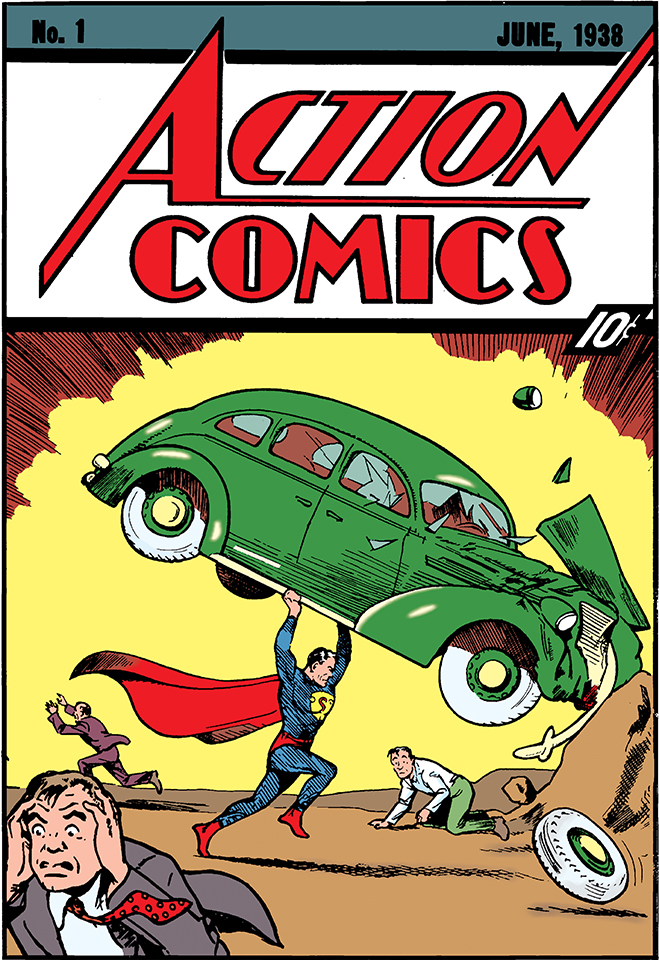the cover of the first superman comic or Action Comics #1. although the cover states it's the June, 1938 issue, this legendary comic was actually published on April 18, 1938.