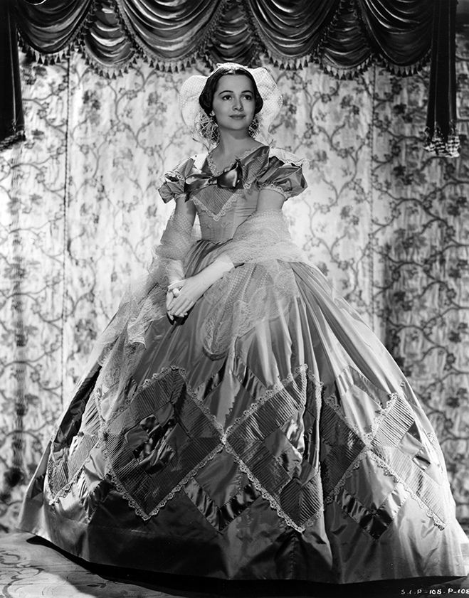 With dazzling splendor, de Havilland received an Oscar nomination for her performance in the immortal Gone with the Wind.