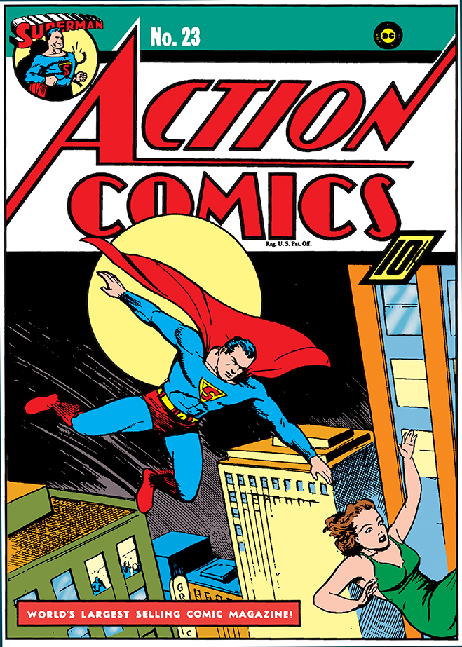 cover of Action Comics #23 - The Introduction / 1st Chronological appearance of Lex Luthor (Superman #4 had the 2nd story but is released just days before this comic)