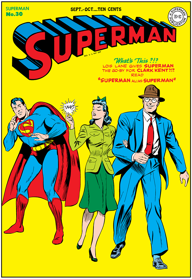 in this Superman #30 comic from 1944, Superman has his first meeting with the Imp from the 5th Dimension