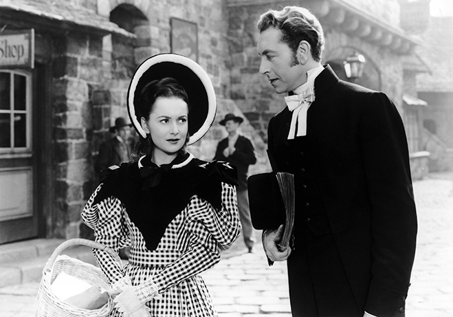 Ida Lupino and de Havilland (pictured with Paul Henreid) portrayed the Bronte sisters, the writers behind Wuthering Heights and Jane Eyre, in this fictionalized account.