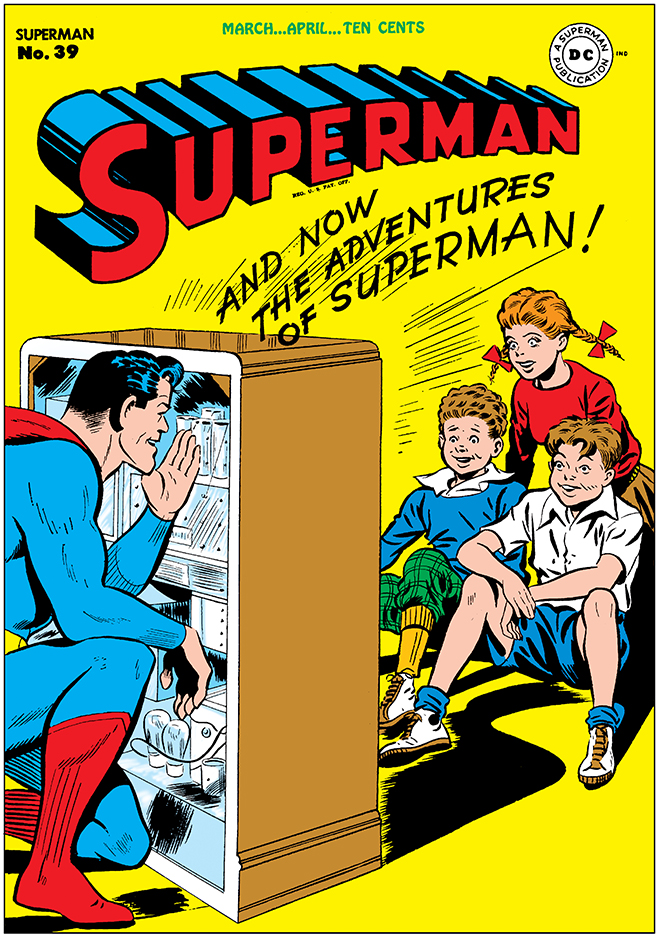 "superman comic #39, released in 1946, A comic book nod to Superman's other career as the star of the long-running radio serial ""The Adventures of Superman"""