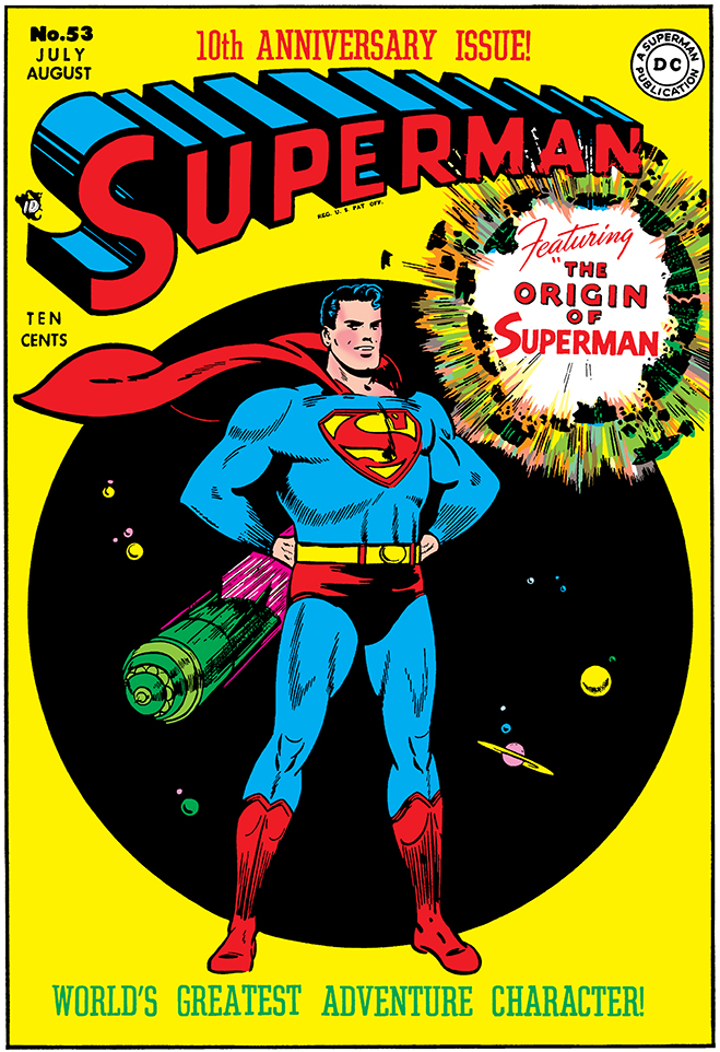 In 1948, 10th anniversary issue of the superman comic was released and featured the first full-length origin story.