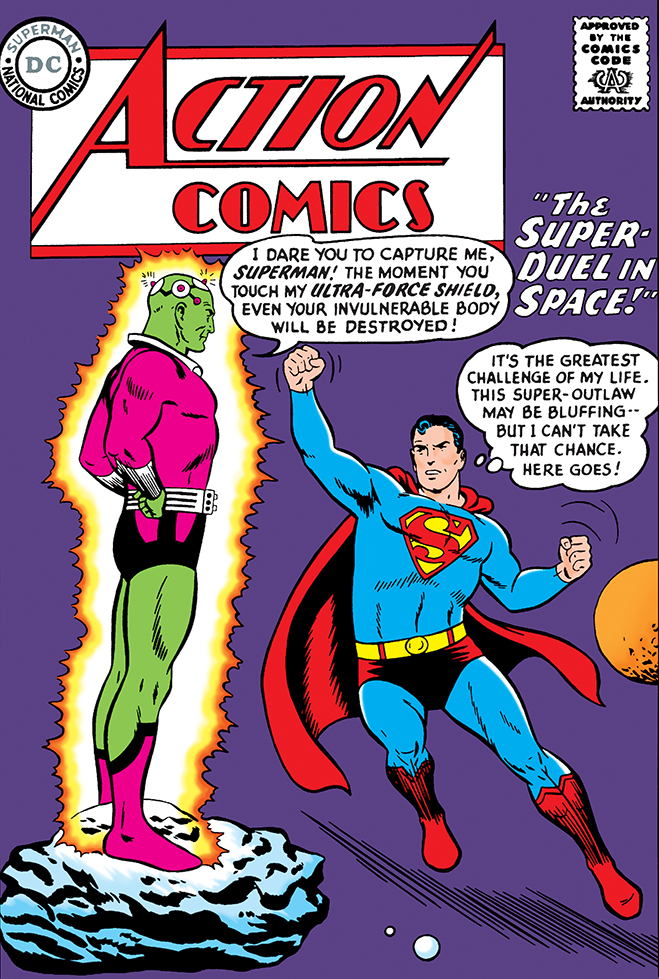 Action Comics #242, published in 1958, is the first battle between the man of steel and brainiac.