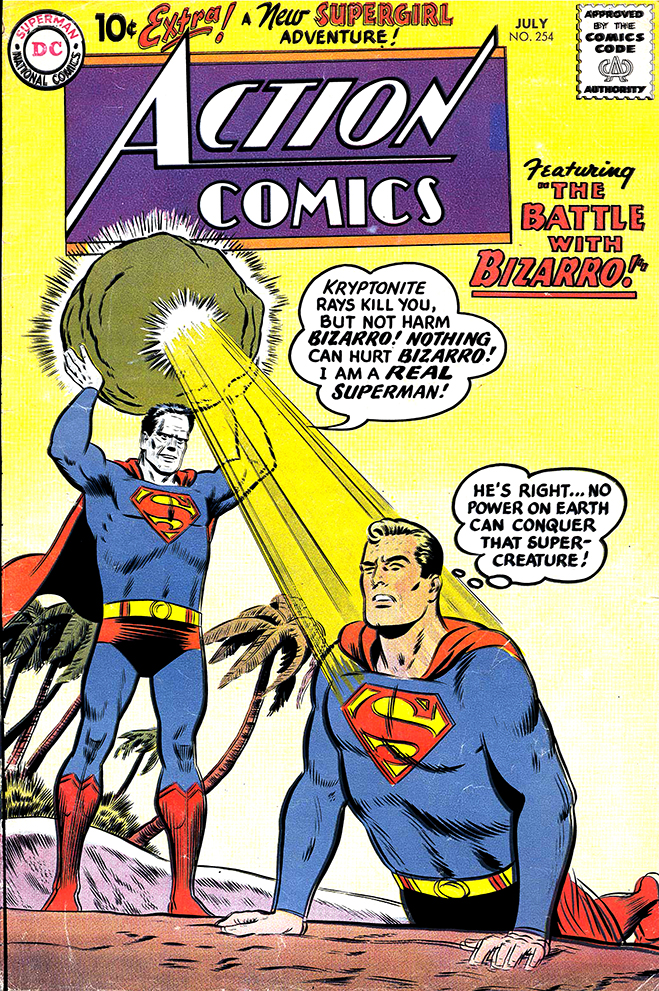 Action Comics #254, published in 1959, featuring Lex Luthor using a duplicating ray on Superman and creates the first Adult Bizzaro.