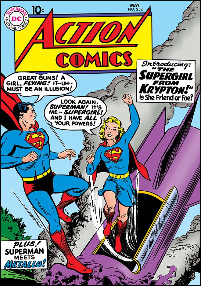 Also published in 1959, Action Comics #252 brings Supergirl's arrival on earth.