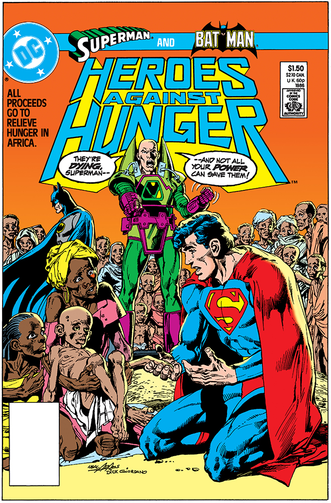 cover of a special edition in which batman and superman fight against hunger in africa, published in 1986