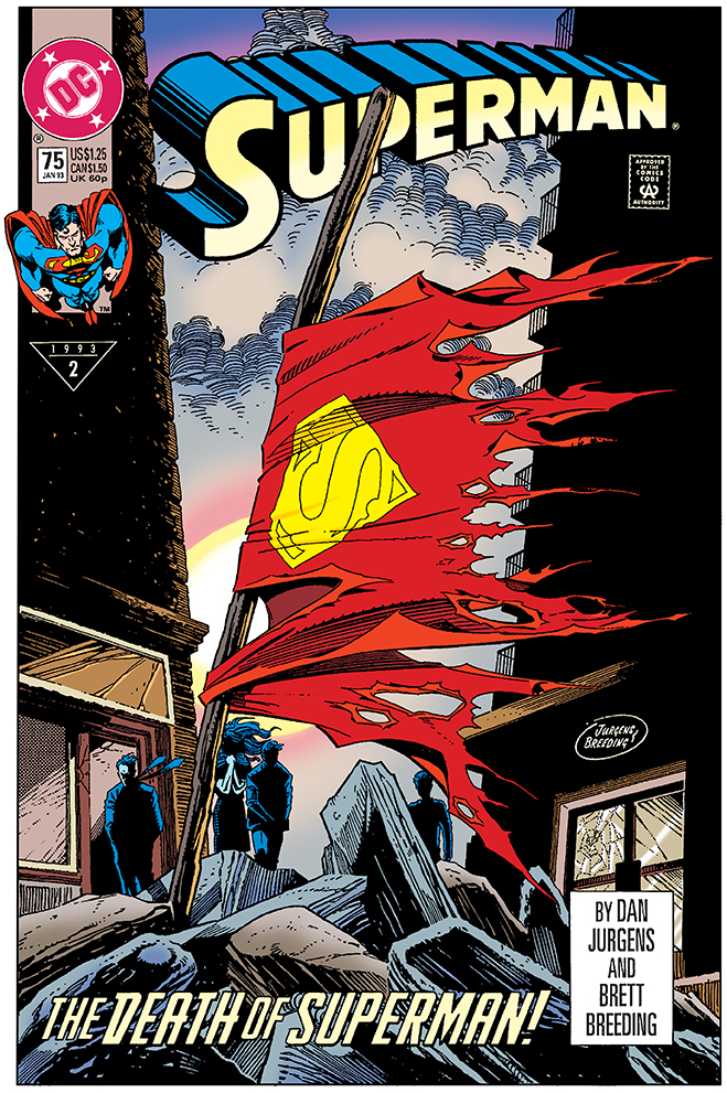 "cover of the famous ""the death of superman"", published in 1992"