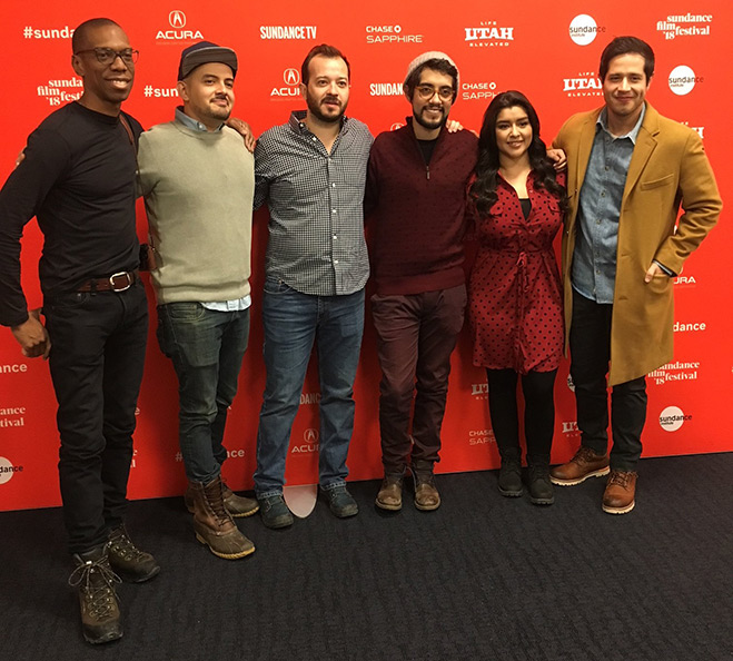 Pictured at Sundance are: Christopher Mack, SVP of WBTV and head of scripted content for Stage 13; writer/creator Cesar Mazariegos, cinematographer Martim Vian, director Carlos Lopez Estrada, and series stars Chelsea Rendon and Jorge Diaz.