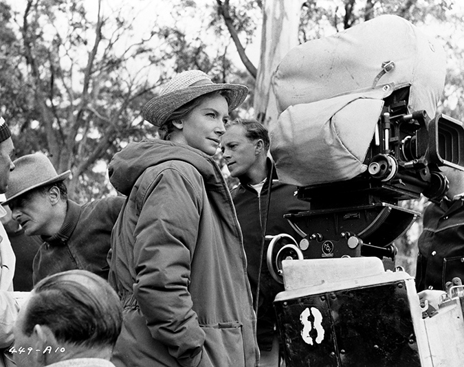 Camera operator Nicolas Roeg on the set of The Sundowners lead actress Deborah Kerr