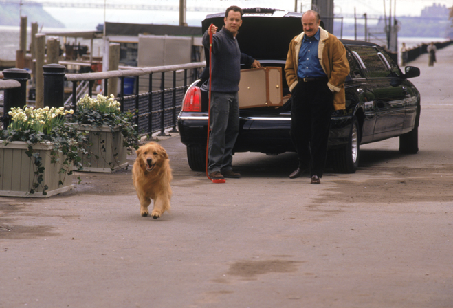 Brinkley, a golden retreiver, runs loose while Tom Hanks dangles a leash in a scene from You've Got Mail