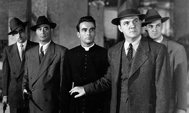 montgomery clift and karl malden in Alfred Hitchcock's I Confess