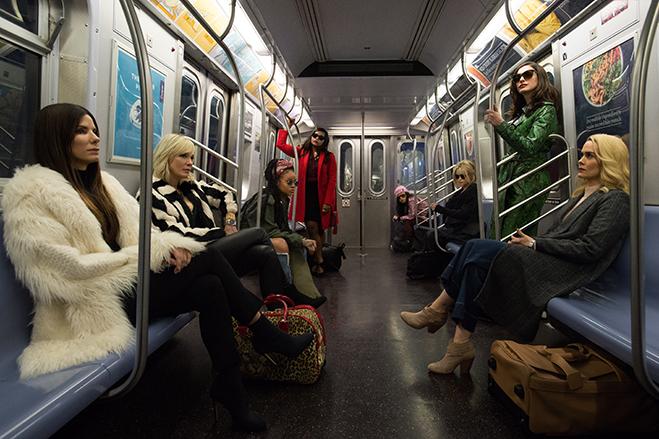 Pictured (L-R) Debbie Ocean (Sandra Bullock); Lou (Cate Blanchett); Nine Ball (Rihanna); Amita (Mindy Kaling); Constance (Awkwafina); Rose (Helena Bonham Carter); Daphne Kluger (Anne Hathaway); and Tammy (Sarah Paulson). (Photo by Barry Wetcher)