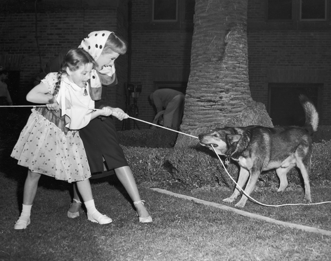 Behind-the-scenes shot of Janet Leigh as Jennifer and Donna Corcoran as Bridget playing with dog.