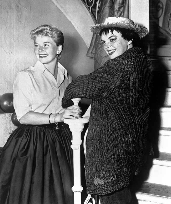 A Star is Born Doris Day visits Judy Garland on the set