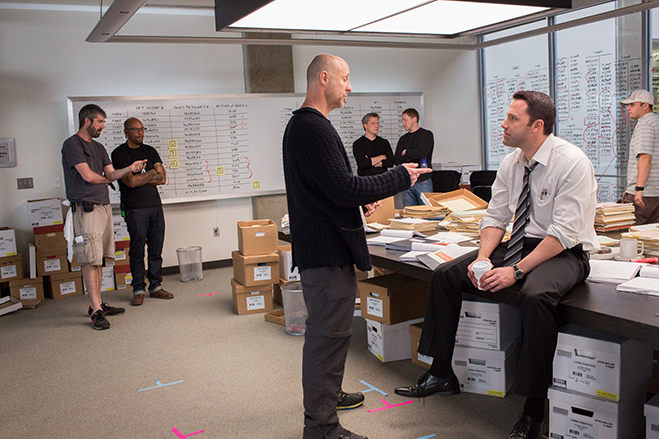 director gavin o'connor and star ben affleck on the set of the accountant