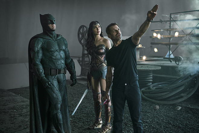 ben affleck as batman, gal gadot as wonder woman, and director zack snyder on the set of Justice League