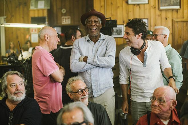 Alan Arkin, Morgan Freeman and director Zach Braff share a laugh on the set.