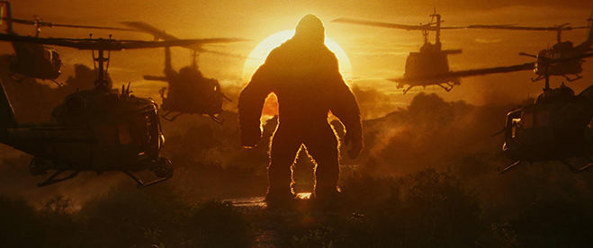 kong surrounded by helicopters in kong: skull island