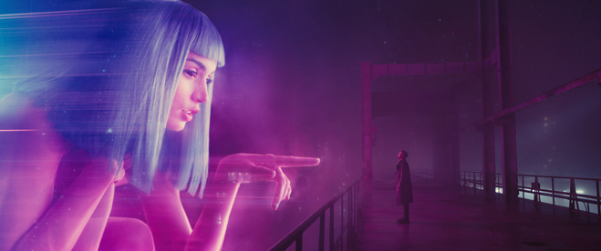 "ANA DE ARMAS as Joi and RYAN GOSLING as K in Alcon Entertainment's sci fi thriller ""BLADE RUNNER 2049,"""