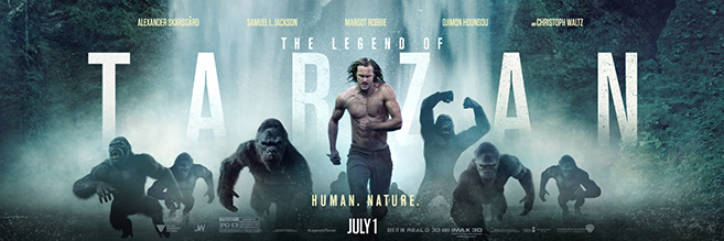 Alexander Skarsgård stars as Tarzan/John Clayton and Margot Robbie stars as his wife Jane in The Legend of Tarzan, directed by David Yates (last four Harry Potter films and the upcoming prequel Fantastic Beasts and Where to Find Them)