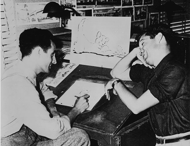 Joseph Barbera and William Hanna pictured during the very early days of their collaboration when they were working for MGM.