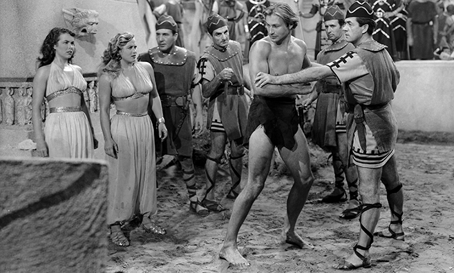 Lex Barker stars as Tarzan in 1950's Tarzan and the Slave Girl