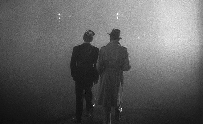 Bogart's famous last line was dubbed over this final scene.