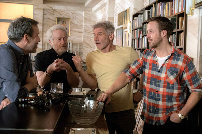Denis Villeneuve, Ridley Scott, Harrison Ford and Ryan Gosling on the set of Alcon Entertainment's Blade Runner 2049, a Warner Bros. Pictures Release. (Photo by: Stephen Vaughan)