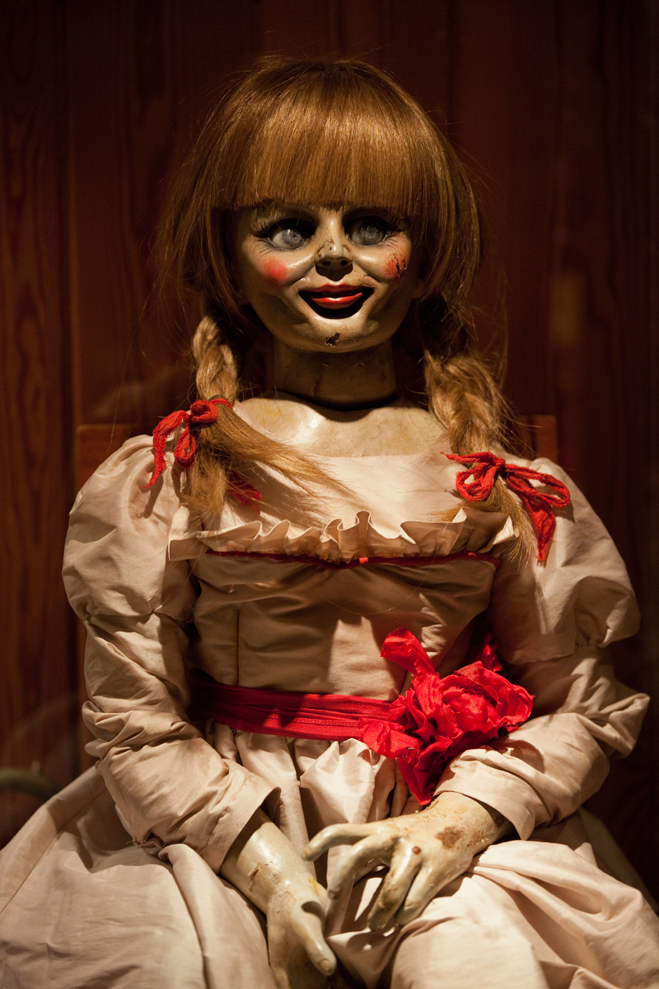 Close up shot of the doll Annabelle from the Conjuring