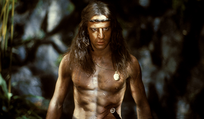 christopher lambert stars as tarzan in the 1984 film, Greystoke: The Legend of Tarzan.
