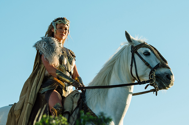 Connie Nielsen on horseback as Queen Hippolyta (Wonder Woman's mother).