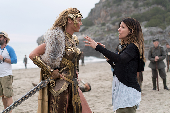 Connie Nielsen and director Patty Jenkins take a break from filming to discuss one of the battle scenes.